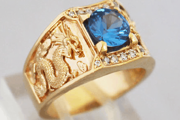 Nhẫn vàng 18k nam hình rồng uốn lượn