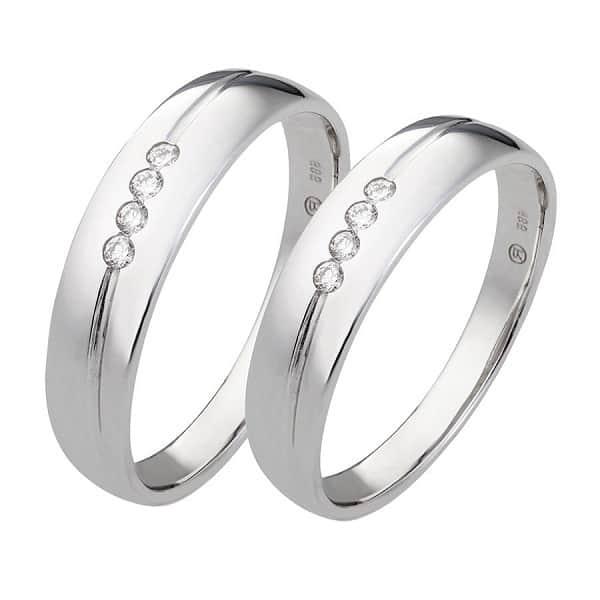 Nhẫn vàng trắng đính kim cương chung đôi