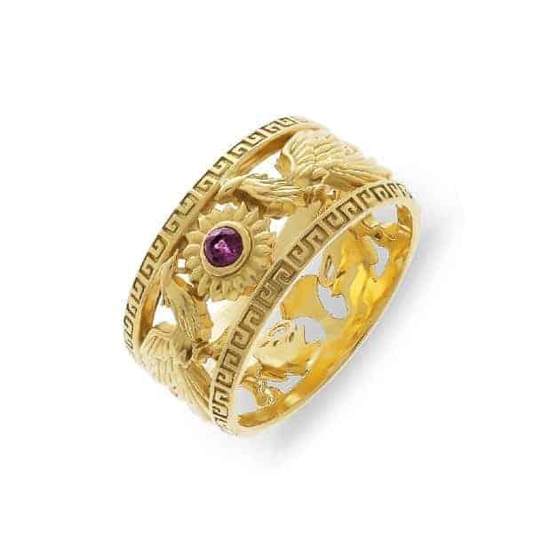 Kiểu nhẫn vàng 18k họa tiết rồng phụng