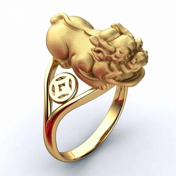 Mẫu nhẫn vàng 18k tỳ hưu
