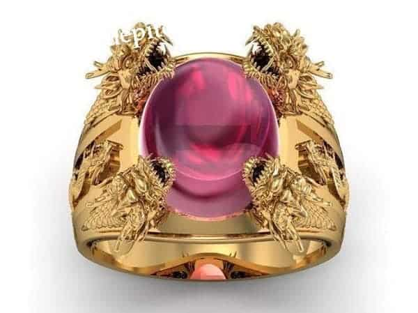 Nhẫn vàng 18k kiểu mới chạm khắc hình rồng ôm ngọc