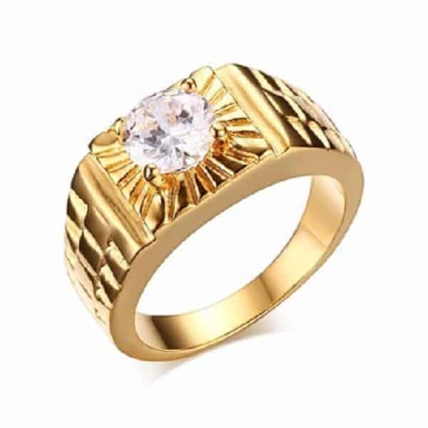 Nhẫn vàng nam đính kim cương sang trọng