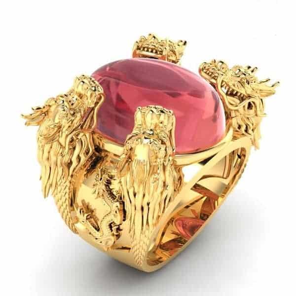 Mẫu nhẫn vàng kiểu mới hình tứ long quy tụ