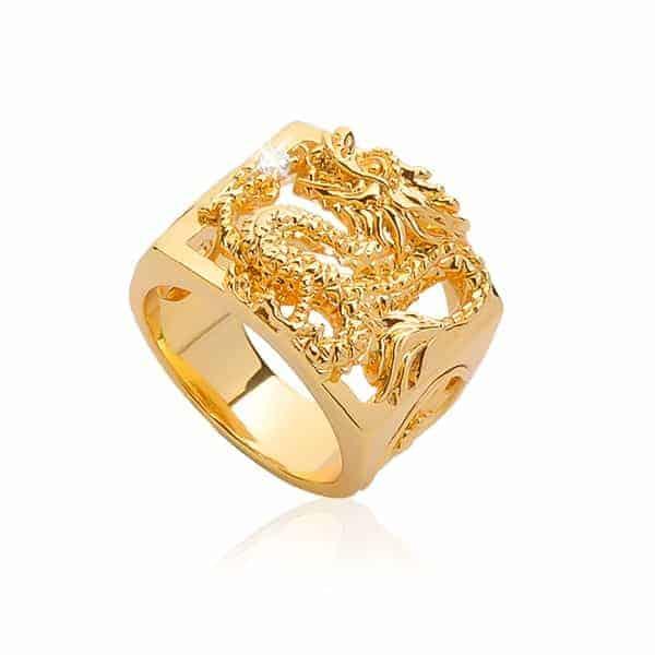 Nhẫn vàng thiết kế mặt vuông hình rồng