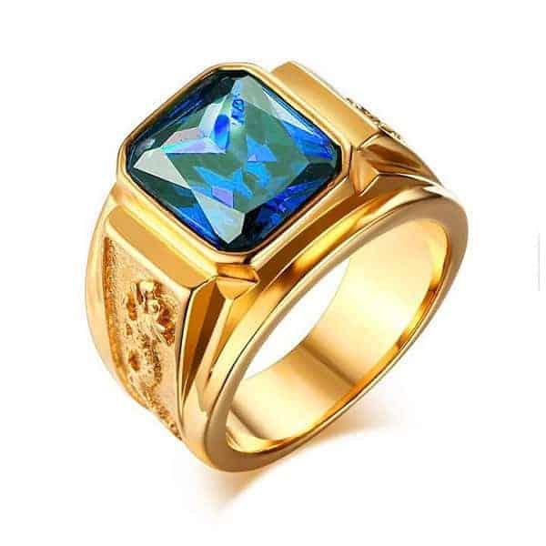 Nhẫn vàng thiết kế mặt vuông đính đá phong thủy