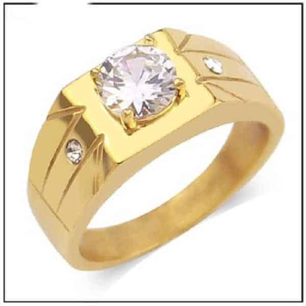 Mẫu nhẫn vàng mặt vuông đính kim cương