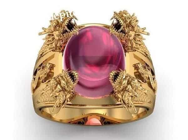 Nhẫn vàng thời trang chạm ngọc