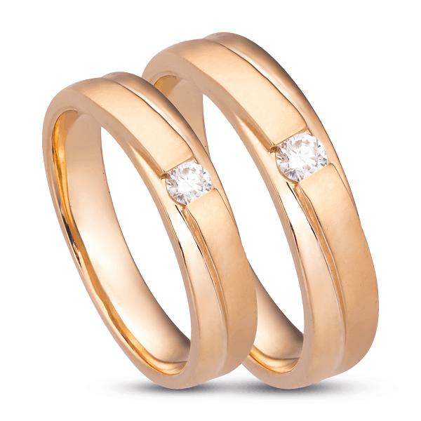 Cặp nhẫn cưới vàng đính kim cương sang trọng