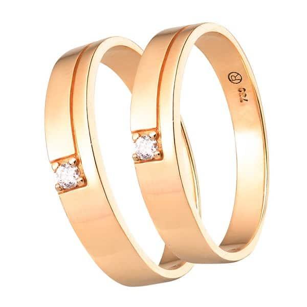 Cặp nhẫn cưới vàng 18k đính kim cương