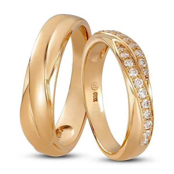 Cặp nhẫn cưới đẹp đính kim cương