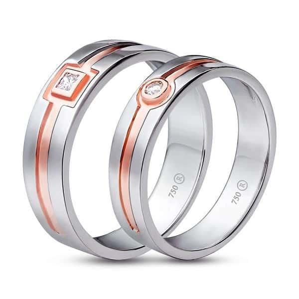 Cặp nhẫn cưới đẹp kim cương tinh vàng hồngCặp nhẫn cưới đẹp kim cương tinh vàng hồng