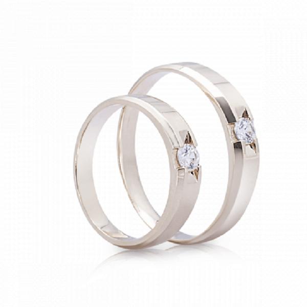 Nhẫn cưới vàng trắng đính 1 viên đá đầy tinh xảo