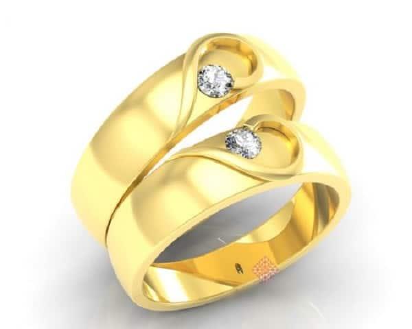 Nhẫn cưới hình trái tim lãng mạn, ngọt ngào