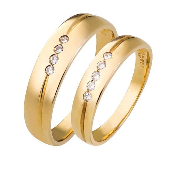 Mẫu nhẫn cưới vàng 18k chung đôi giá hấp dẫn