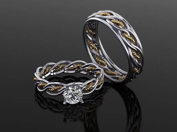 Cặp nhẫn cưới đẹp với những đường nét uốn lượn độc đáo