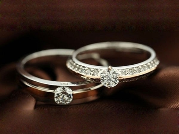 Hình ảnh nhẫn cưới đính đá liền sang trọng tinh tế