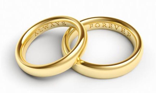 Mẫu nhẫn cưới với những cặp từ có nghĩa khi đứng cạnh nhau