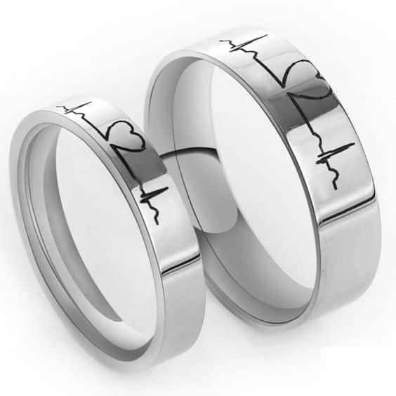 Nhịp trái tim là một kiểu nhẫn cưới đẹp và rất độc đáo.