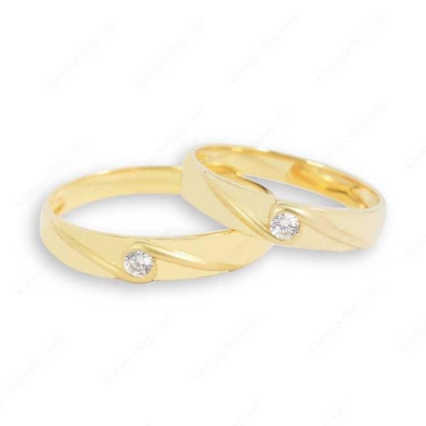 Mẫu nhẫn cưới một hột chủ đơn giản nhưng sang trọng