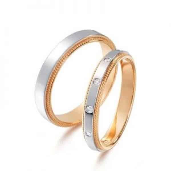 Nhẫn cưới kết hợp vàng trắng sáng