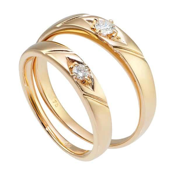 Nhẫn cưới vàng 18k màu sắc đẹp