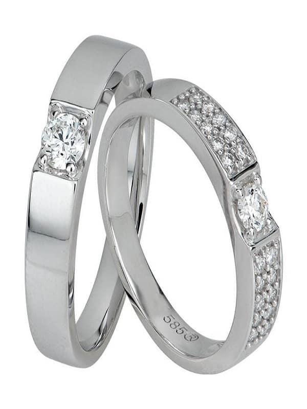 Cặp nhẫn cưới vàng trắng đính kim cương