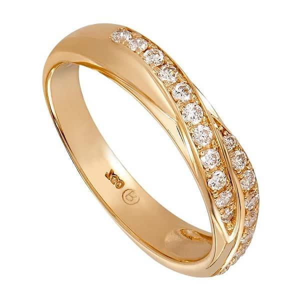 Nhẫn vàng 18k đính kim cương sang trọng