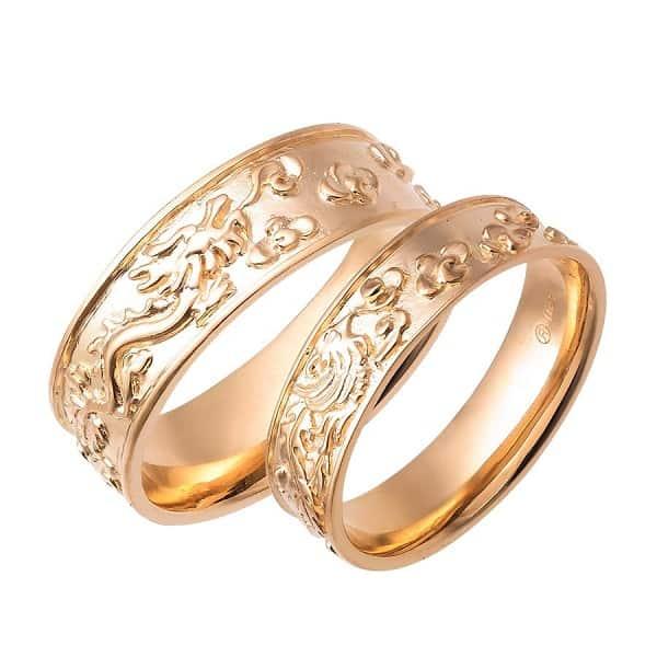Cặp nhẫn hình rộng phượng vàng 18k