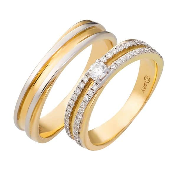 Mẫu nhẫn cưới vàng 18k đính kim cương