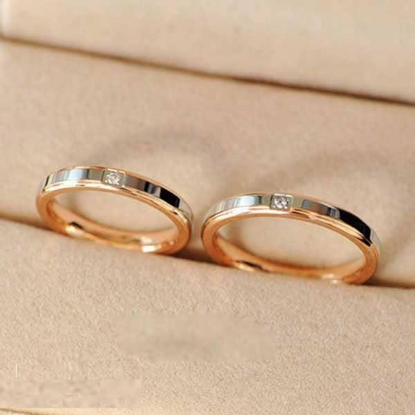 Giá nhẫn cưới đẹp vàng 18k kết hợp vàng trắng