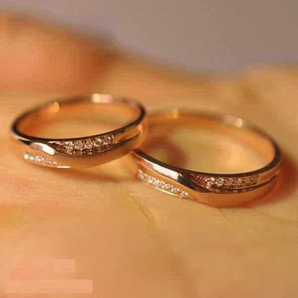 Cặp nhẫn cưới vàng 14k nhẹ nhàng