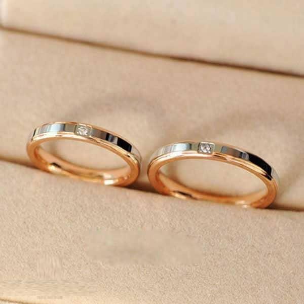 Nhẫn cưới vàng 14k kết hợp vàng trắng