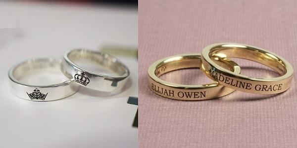 Mẫu nhẫn cưới khắc chữ, họa tiết