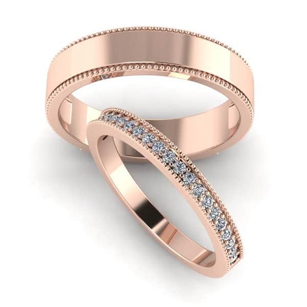 Kiểu nhẫn cưới vàng hồng trẻ trung, độc đáo