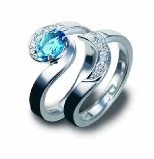 Nhẫn cưới đính kim cương hoa văn lượn sóng