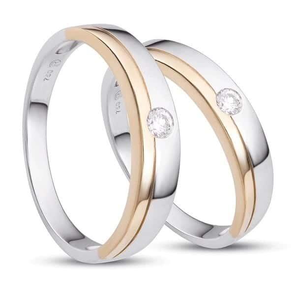 Mẫu nhẫn cưới đính đá chìm tinh tế đơn giản