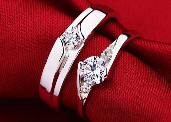 Nhẫn cưới trơn vàng trắng độc đáo, sang trọng