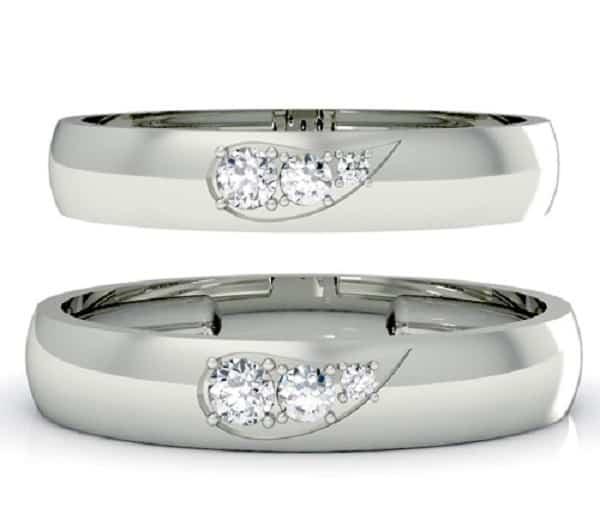 Mẫu nhẫn cưới đính đá trái tim