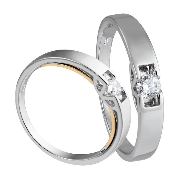 Nhẫn cưới vàng trắng tinh tế đẳng cấp