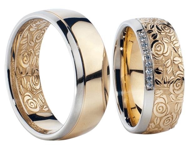 Nhẫn cưới chạm khắc hoa văn tinh tế