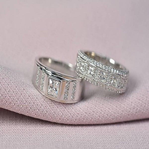 Nhẫn cưới 2019 đính kim cương